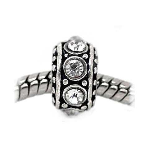April Birthstone Antique Silver Rhinestone Spacer Beads Fit European Bracelet - Sexy Sparkles Fashion Jewelry - 1