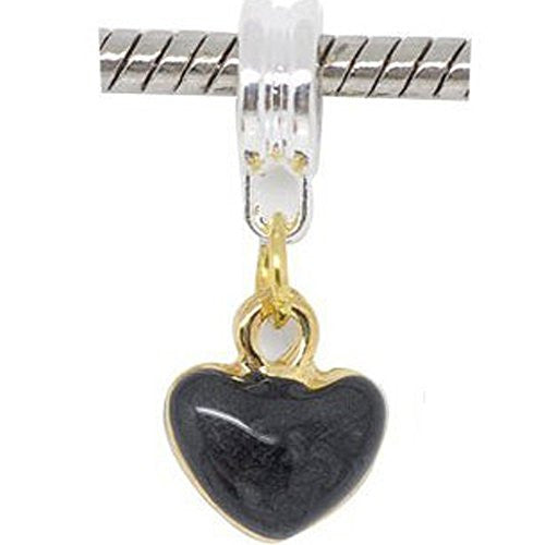 Two Tone Enamel Black Hearts Charm Bead Dangle in Assorted s