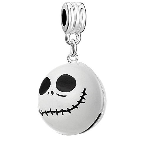 Nightmare Before Christmas Halloween Skull Bell/Pendant Charm Bead for European Snake Chain Bracelets