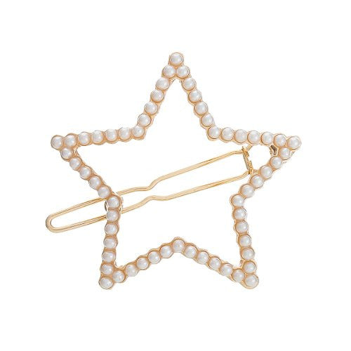 Hair Pin Clips Rose Gold Tone with Imitaiton Pearls Choose Your Design From Menu (Star 4.4cm X 4cm) - Sexy Sparkles Fashion Jewelry