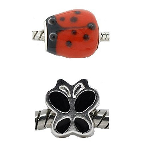 Love Bug Charm Beads for European Snake Chain Charm Bracelets