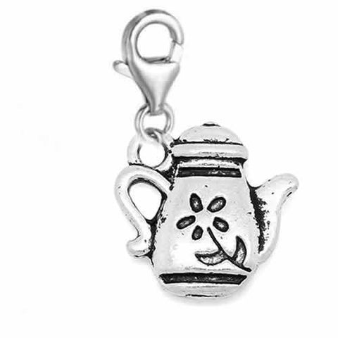 Clip on Teapot Charm Dangle Pendant for European Clip on Charm Jewelry w/ Lobster Clasp - Sexy Sparkles Fashion Jewelry - 2