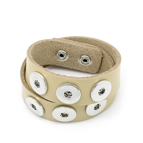 Real Leather Copper Buckle Bracelets Khaki Chunk Buttons Fit Interchangeable Snap Fasteners 47.5cmx2.4cm