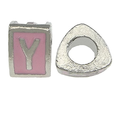 """Y"" LetterTriangle  Charm Beads Pink Spacer for Snake Chain Charm Bracelet"