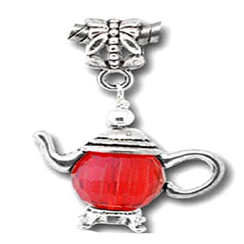 3D Silver Tone Teapot Charm Beads for Snake Chain Bracelet (Red)