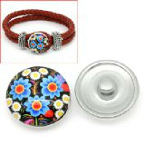 Multi Flower Pattern Glass Chunk Charm Button Fits Chunk Bracelet 18mm for Noosa Style Bracelet - Sexy Sparkles Fashion Jewelry - 1