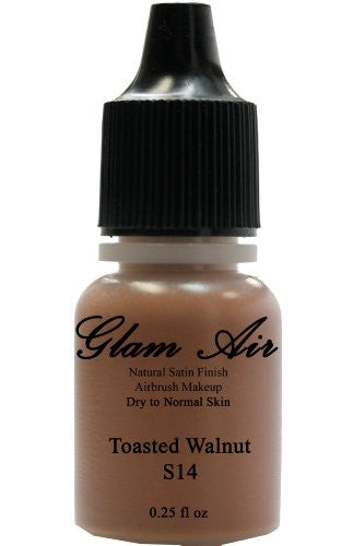 Airbrush Makeup Foundation Satin S14 Toasted Walnut Water-based Makeup Lasting All Day 0.25 Oz Bottle - Sexy Sparkles Fashion Jewelry - 1
