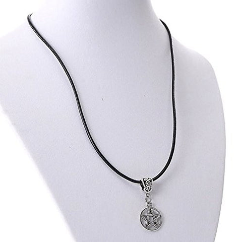 "Cowhide Leather Necklaces Antique Silver Round Star With Lobster Clasp 43cm long(16 7/8"") - Sexy Sparkles Fashion Jewelry - 1"