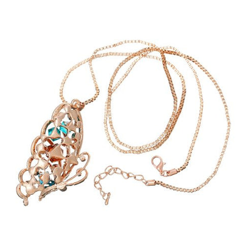 Snake Chain Pendant Necklace Rose Gold Tone Butterfly w/  Crystals with Extension Chain 28 Long - Sexy Sparkles Fashion Jewelry - 2