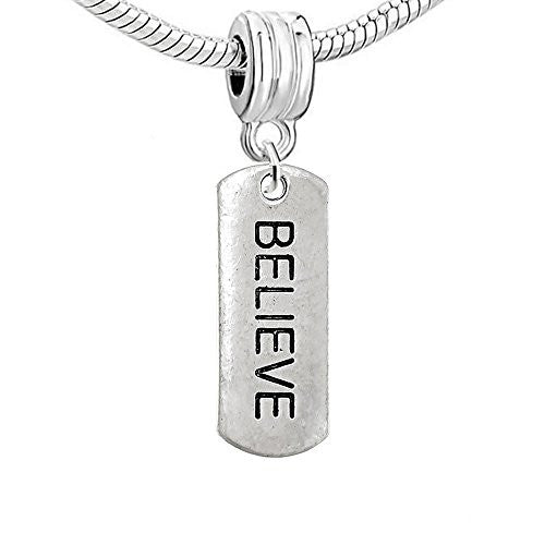 Dog Tag Inspiration/Strength Charm Bead (Believe)