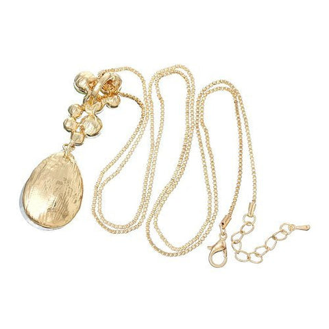 Gold Tone Box Chain Necklace with Oval Pendant Mixed  Crystals w/ Lobster Clasp Extender - Sexy Sparkles Fashion Jewelry - 2