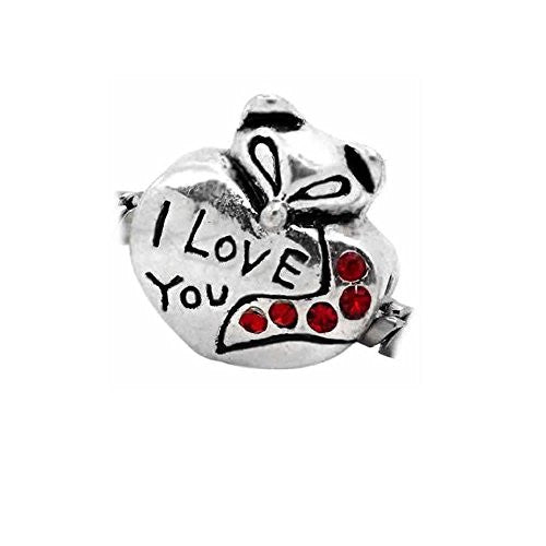 I Love You W/ruby Red July Birthstone  Crystals Charm European Bead Compatible for Most European Snake Chain Bracelet