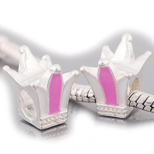 Pink and White Enamel Crown Bead Compatible for Most European Snake Chain Braceletfor Snake Chain Bracelet