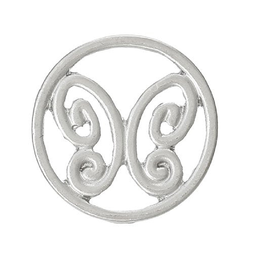 Butterfly Silver tone Floating Charms Dish Plate for Glass Locket Pendants and Floating