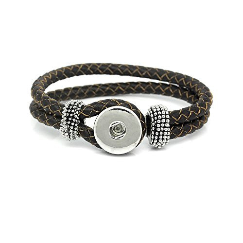 "Real Leather Copper Braiding Charm Bracelets Coffee Chunk Button Fit Interchangeable Snaps 21cm(8 2/8"") - Sexy Sparkles Fashion Jewelry"