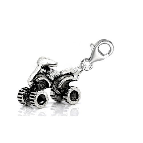 3d Clip on ATV Four Wheeler Dangle Pendant for European Clip on Charm Jewelry w/ Lobster Clasp
