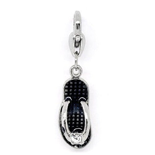 Clip on Black Flip Flop Shoe Pendant for European Jewelry w/ Lobster Clasp