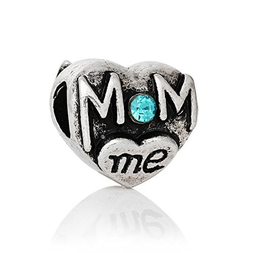 Mom and Me Heart W/Blue Rhinestones Charm Spacer European Bead Compatible for Most European Snake Chain Bracelet