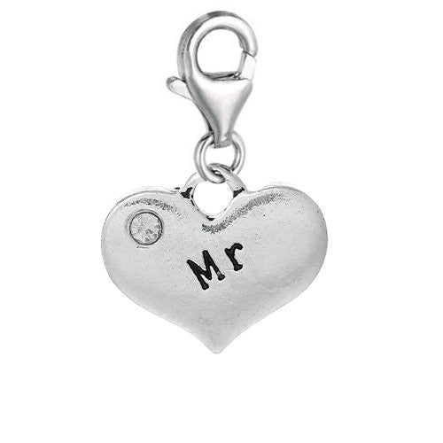 Heart Dangle 2 Sided Clear Rhinestones Pendant w/ Clear Crystal Dangle Charm Pendant w/ Lobster Clasp (Mr)