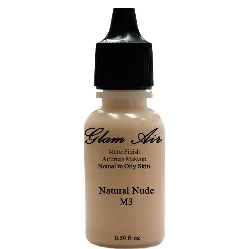 Large Bottle Airbrush Makeup Foundation Matte Finish M3 Natural Nude Water-based Makeup Lasting All Day 0.50 Oz Bottle By Glam Air - Sexy Sparkles Fashion Jewelry - 1