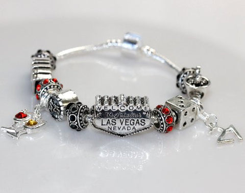 "6.5"" Viva Las Vegas Theme Charm with 12 Charms, Pocker Cards,Casino Chips,Dice,Martini Glass & Crystals charm beads, For Snake Chain Bracelets - Sexy Sparkles Fashion Jewelry - 2"