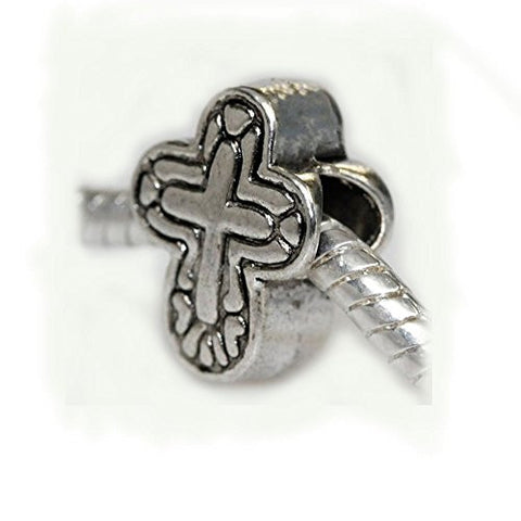 Cross Charm Slide on Bead Spacer European Bead Compatible for Most European Snake Chain Charm Bracelet - Sexy Sparkles Fashion Jewelry - 1