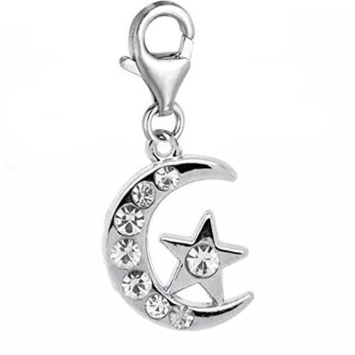 Moon & Star Charm for European Clip on Jewelry w/ Lobster Clasp