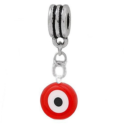 Red Evil Eye Dangle European Bead Compatible for Most European Snake Chain Charm Bracelet