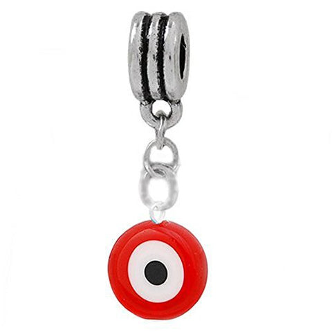Red Evil Eye Dangle European Bead Compatible for Most European Snake Chain Charm Bracelet - Sexy Sparkles Fashion Jewelry - 1