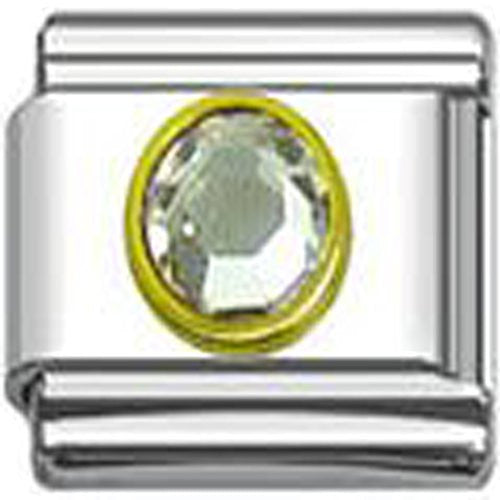 April Clear Birthstone Italian 9mm Charm Link for Bracelet