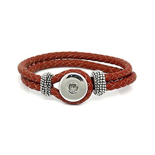 "Real Leather Copper Braiding Charm Bracelets Red Chunk Button Fit Interchangeable Snaps 23.5cm(9 2/8"") - Sexy Sparkles Fashion Jewelry"