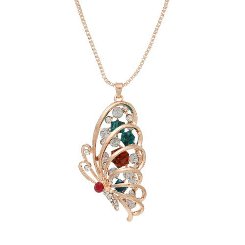 Snake Chain Pendant Necklace Rose Gold Tone Butterfly w/  Crystals with Extension Chain 28 Long