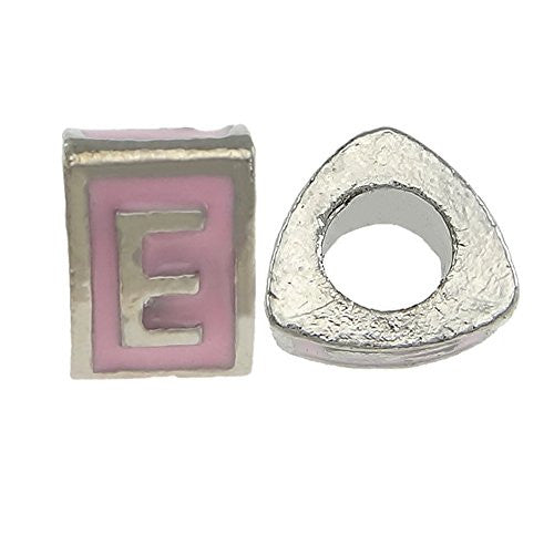 """E"" Letter  TriangleCharm Beads Pink Spacer for Snake Chain Charm Bracelet"
