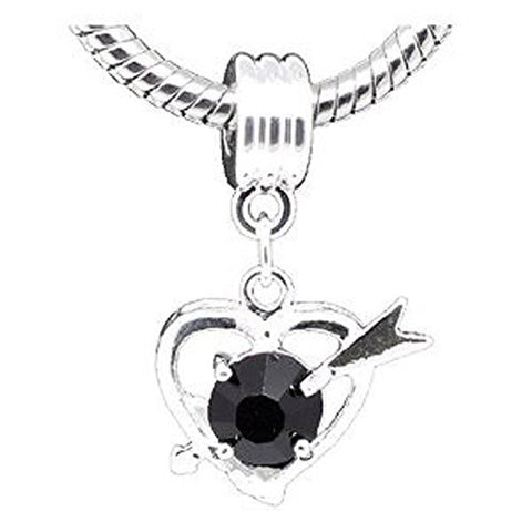 Black Rhinestone Cupid Heart Dangle for Snake Chain Charm Bracelet - Sexy Sparkles Fashion Jewelry - 1