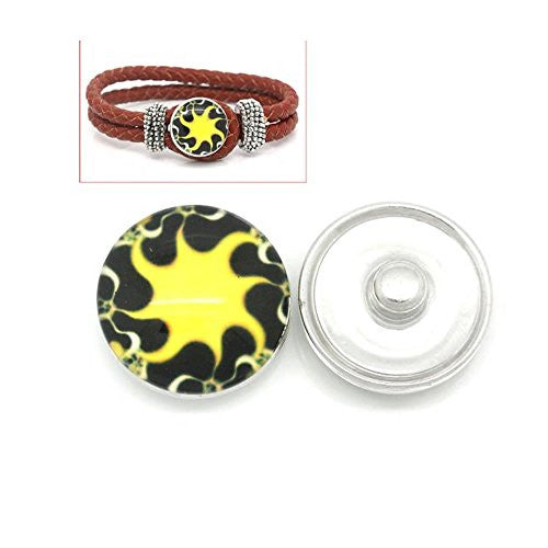 Sun Design Glass Chunk Charm Button Fits Chunk Bracelet 18mm for Noosa Style Chunk Leather Bracelet