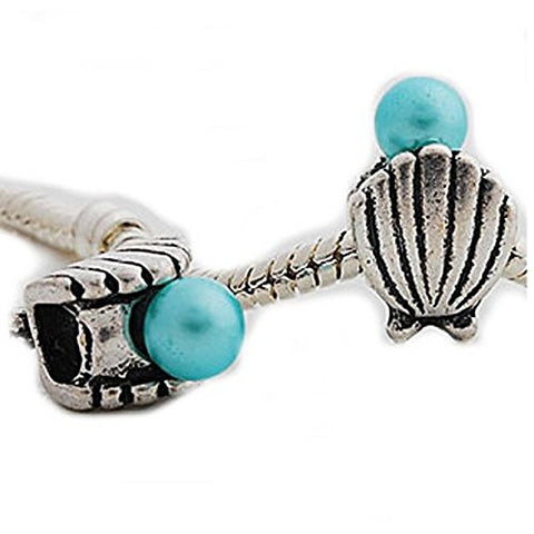 Sea Shell with Blue  Pearl Charm Spacer Beads for Snake Chain Charm Bracelet - Sexy Sparkles Fashion Jewelry - 1