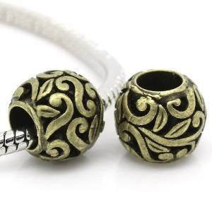 Bronze Flower Spacer European Bead Compatible for Most European Snake Chain Bracelets - Sexy Sparkles Fashion Jewelry - 4
