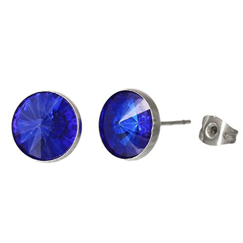 September Birthstone Stainless Steel Post Stud Earrings with  Rhinestone