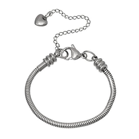 "6"" European Style Stainless Steel Snake Chain Charm Bracelet with Heart Lobster Clasp - Sexy Sparkles Fashion Jewelry - 1"