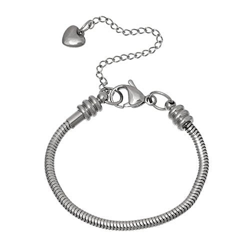 "7"" European Style Stainless Steel Snake Chain Charm Bracelet with Heart Lobster Clasp - Sexy Sparkles Fashion Jewelry - 1"