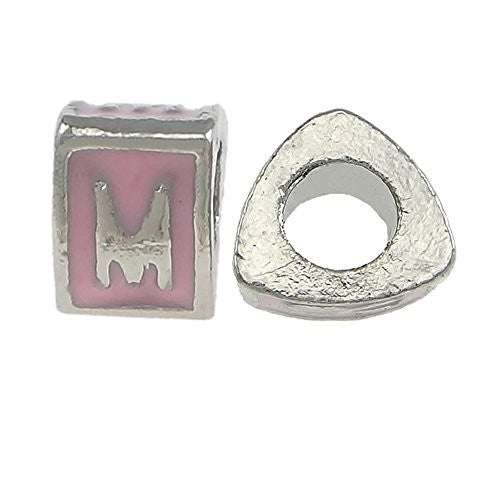 """M"" LetterTriangle Charm Beads Pink Spacer for Snake Chain Charm Bracelet"