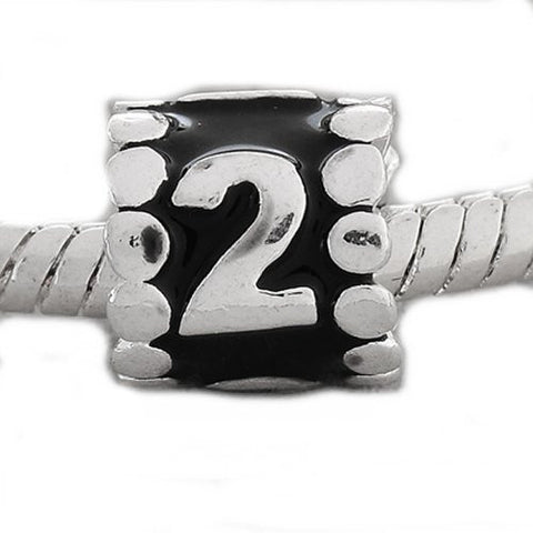 "Black Enamel Number Charm Bead  ""2"" European Bead Compatible for Most European Snake Chain Charm Bracelets - Sexy Sparkles Fashion Jewelry - 4"