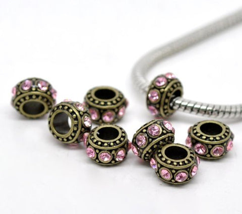 Gold Tone With Pink Rhinestones charm for European Snake chain charm bracelet - Sexy Sparkles Fashion Jewelry - 2