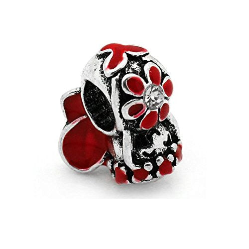 Red Flower Fairy Charm European Bead Compatible for Most European Snake Chain Bracelet