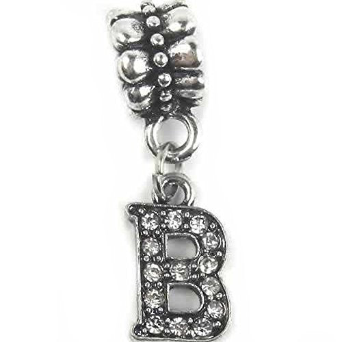 """B"" Letter  Dangle Charm Beads with Crystals for Snake Chain Charm Bracelet - Sexy Sparkles Fashion Jewelry"