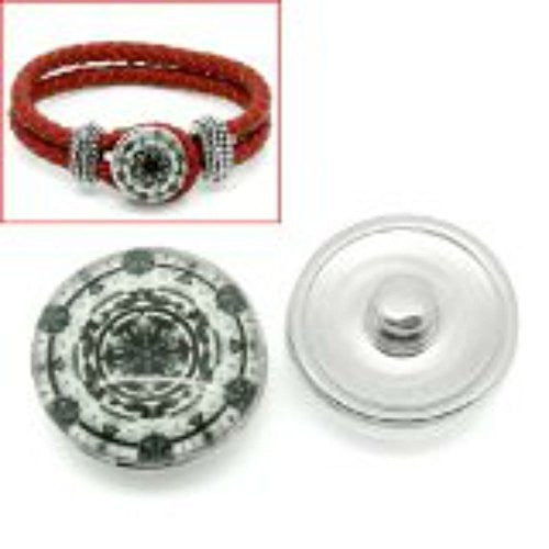 Snowflake Design Glass Chunk Charm Button Fits Chunk Bracelet 18mm for Noosa Style Bracelet