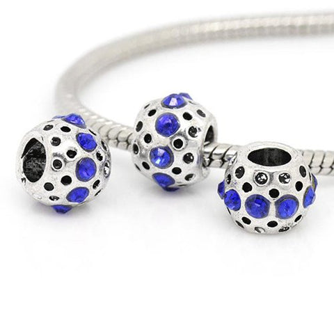 Royal Blue Rhinestone  Birthstone Charm European Bead Compatible for Most European Snake Chain Bracelets - Sexy Sparkles Fashion Jewelry - 2