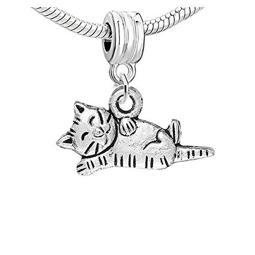 Curled up Kitty Dangling Bead European Bead Compatible for Most European Snake Chain Charm Bracelet