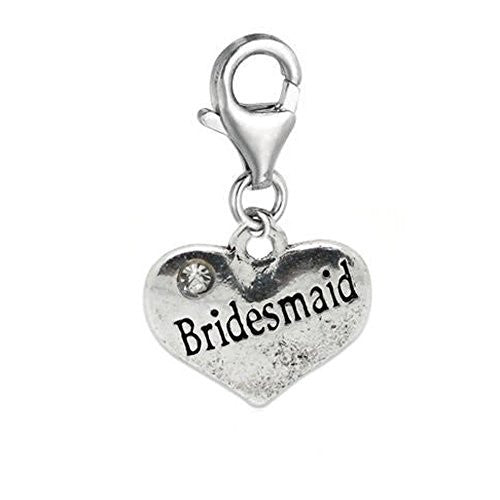 Clip on Bridesmaid on Heart Charm Pendant for European Jewelry w/ Lobster Clasp