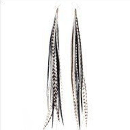 4-6 Zebra Black & White Feather Earrings Made with 5 Genuine Grizzly Rooster Feathers Each